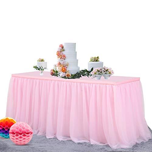 NSSONBEN Tüll Tischrock Rosa Tütü Tischröcke Für Hochzeit Geburtstag Party(L183cm * H77cm)
