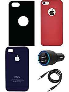 NIROSHA Cover Case Car Charger for Apple iPhone 4s - Combo