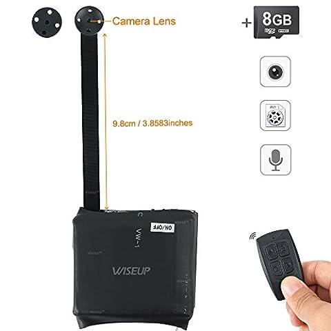 WISEUP 8GB Micro Objet Camera Espion Bouton Autonome Enregistreur Detecteur de Mouvement Longue Duree 13 Heures avec Son
