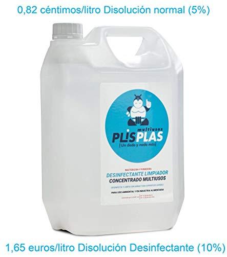 PLIS PLAS Desinfectante Concentrado Multiusos H.A. Potente limpiador desengrasante quitamanchas-cocinas,baños,tapicerias,suelos antideslizantes,marmol,piedra,madera,etc. 5L+2 PULVERIZADORES.