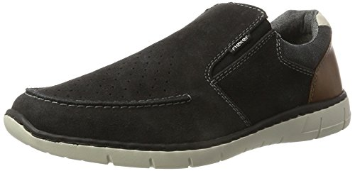 Rieker Herren 15876 Slipper Grau (antracite/anthrazit/amaretto/chalk / 45)