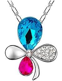 """Rolicia """"Diamants Trèfle"""" Plaque d'Argent Multi Couleur Cristal Tchèque 2,8 * 2,5 Cm Collier Pendentif De La Chaîne 40 + 5 Cm"""