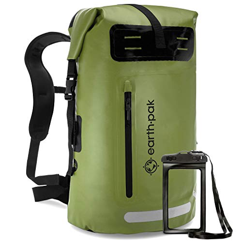 Earth Pak Sac à Dos étanche - Taille 35L / 55L - Idéal pour Camping, Kayak, Pêche, Rafting, Canoë, et Natation (Green, 35L)
