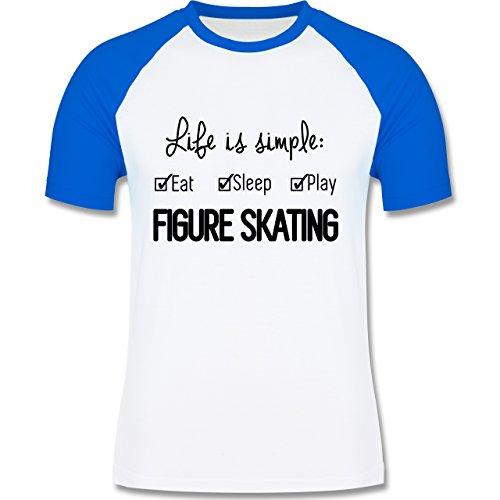 Wintersport - Life is simple Figure Skating - zweifarbiges Baseballshirt für Männer Weiß/Royalblau