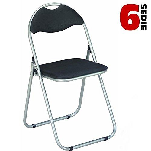 - Bakaji - Juego de 6 sillas plegables con asiento y respaldo acolchado, perfectas para ahorrar espacio. Color: negro. Estructura de color plateado. Sillas realizadas en metal