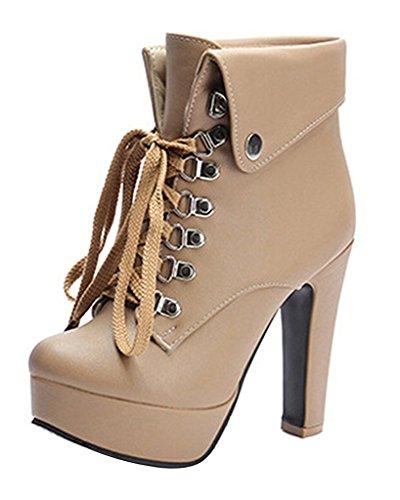 Minetom Damen Herbst Winter Stiefeletten Mode High Heels Stiefel Schnürhalbschuhe Martin Stiefel Bootsschuhe Schuhe Beige EU 40 (Heel-taste High)