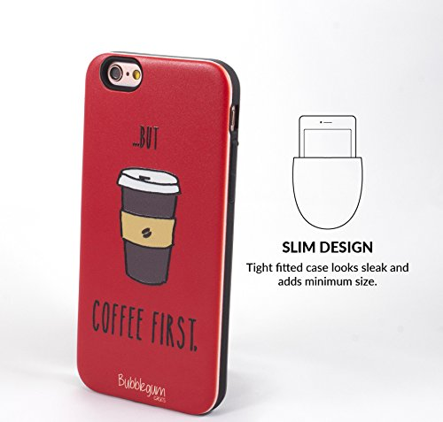 Bubblegum Hüllen für iPhone 6 6S Genuine TIER & NAHRUNG QUOTEN Cartoon Fall Abdeckung (Cat Katze) Coffee Kaffee
