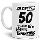 Geburtstags-TasseIch Bin 50 mit 32 Jahren Erfahrung Weiss/Geburtstags-Geschenk/Geschenkidee / Scherzartikel/Lustig / mit Spruch/Witzig / Spaß/Fun / Kaffeetasse/Mug / Cup Qualität - 25 Jahre Erfahrung