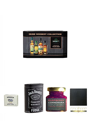 Cooley Collection neues Design Irish Whisky Mini 4 x 5cl + Edradour Malt Whisky Fudge 170 Gramm GP + Jack Daniels Malt Whisky Fudge in Blechdose 300g + Connemara Irish Whisky Himbeer Marmelade 150g im Glas + Schiefer Glasuntersetzer eckig ca. 9,5 cm Durc
