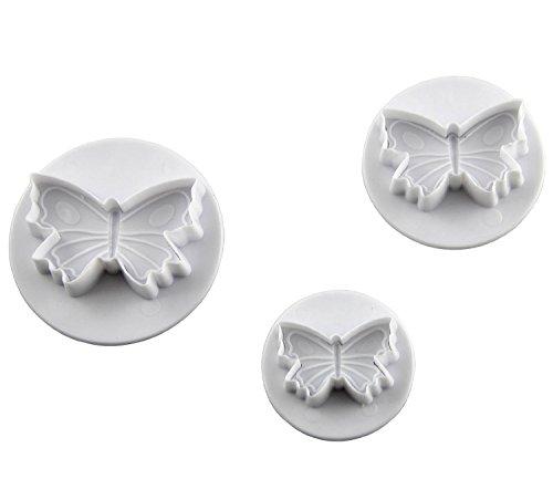 SunJas 3tlg Schmetterling Ausstecher Tortendeko Marzipan Fondant Backen Stempel Set Cookie Cutters Plätzchenformen Keks Ausstechformen Set mit Auswerfer (3tlg Schmetterling)