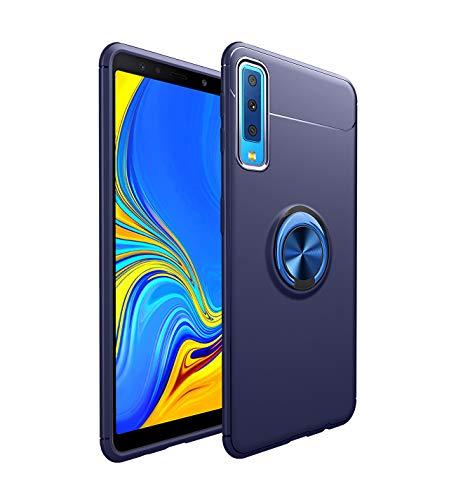 Schutzhülle kompatibel mit Samsung Galaxy A7 2018 360 Grad Ultra Thin Magnet Ring Kickstand TPU Silikon Auto Halterung Stoßfest Schutzhülle für Samsung Galaxy A7, Blue, Samsung Galaxy A7 (Samsung Auto-halterung)