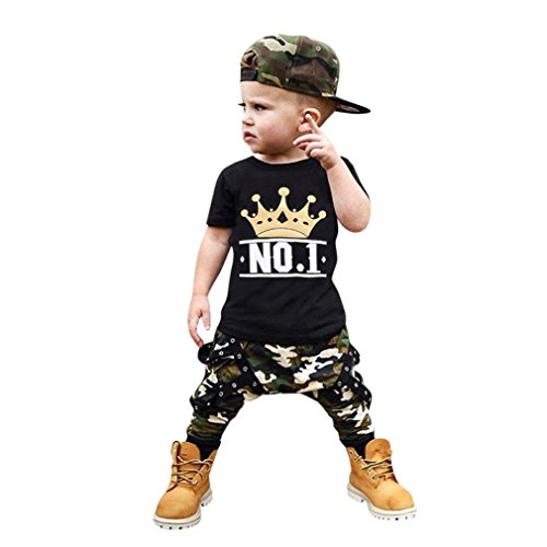 Baby Jungen Mädchen Brief T-Shirt Tops + Camouflage Shorts Outfits Kleidung Set (A, 18 Monat)