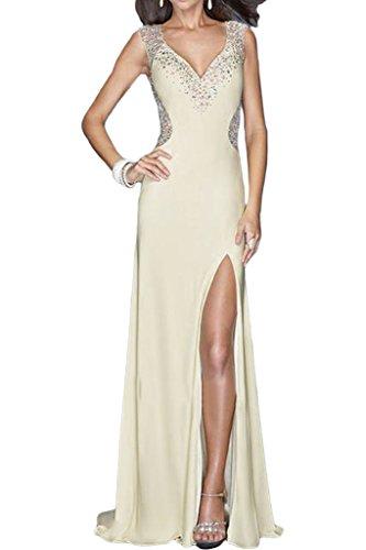 ivyd ressing Donna Fashion Schlitz pietre Scollo a V Strascico Abito del partito Prom abito Fest vestito abito da sera Avorio