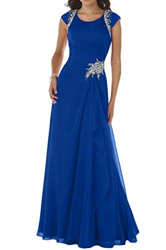Ivydressing Damen Modisch A-Linie Rundkragen Chiffon Lang Festkleid Ballkleid Abendkleid Royalblau