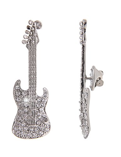 Leslii Damen Pin-Anstecker Glitzer Brosche Gitarre Musik-Verein Kinder Instrument Ansteck-Nadel Modeschmuck Silber Weiß