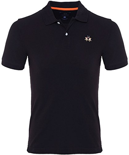 La Martina Herren Slim-fit Pique Polo-Shirt Schwarz XXXXL (Stricken Herren Polo Pique)