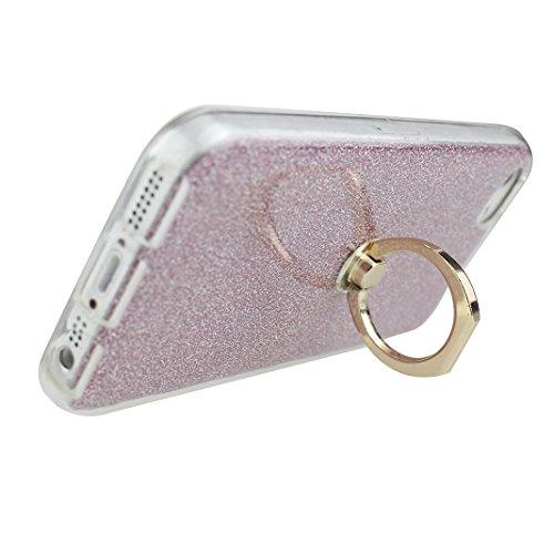iPhone 7 Plus Case, Tasche Hülle für iPhone7 Plus 5.5 Zoll, iPhone 7 Plus Hülle Ring, Moon mood® [Weiche TPU Abdeckung + Glitzer Papier] 2in1 Hybrid Hülle mit 360°drehbar Kickstand Finger Griff Halter Gold