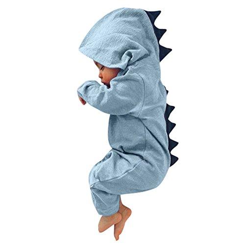 Piebo Baby Dinosaurier mit Kapuze Strampler Overall Outfits Kleidung (60, Blau) (Hübsches Mädchen Outfits)