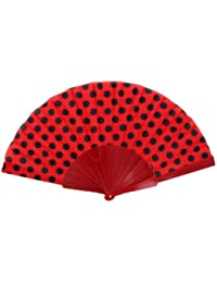 Éventail à la main Eventail accessoire danse flamenco fan fan fan de poche dentelle couleur soirée fête mariage:FAE-15 rouge noir