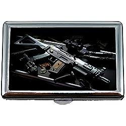 Cigarette Case Box, Sac à Main Pistolet, Porte-étui à Cigarettes, dernière Arme à feu, Business Card Holder Étui à Cartes de Visite en Acier Inoxydable