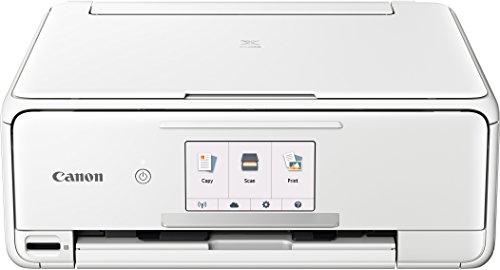 Canon PIXMA TS8151 Farbtintenstrahl-Multifunktionsgerät (Drucken, Scannen, Kopieren, 6 separate Tinten, WLAN, Print App, automatischer Duplexdruck, 2 Papierzuführungen) weiß