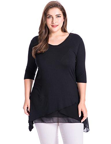 Chicwe Damen Große Größen Layered Knit T Shirt mit Chiffon Trim Schwarz 3X (Fit-jeans Stretch-trim)