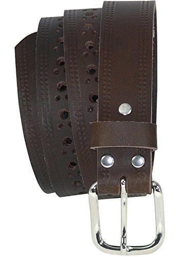 Harrys-Collection gelochter Ledergürtel in 3 cm Breite 4 Farben, Bundweite:125, Farben:braun