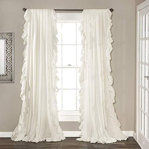 Be&xn Elegante Volant schiebegardinen,Vintage Schick Stil Vorhänge Blackout Vorhang Für mädchenzimmer Wohnzimmer, 1panel-Weiß W150xH240cm(59x94inch) (Rüschen-gardinen Lila)