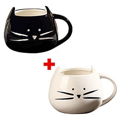 Ailiebhaus Kaffeebecher 2 Stücke Katze Tassen Keramik Nette Porzellanbecher Tee Tasse Kaffeetasse Teebecher - 2 Stück Tee
