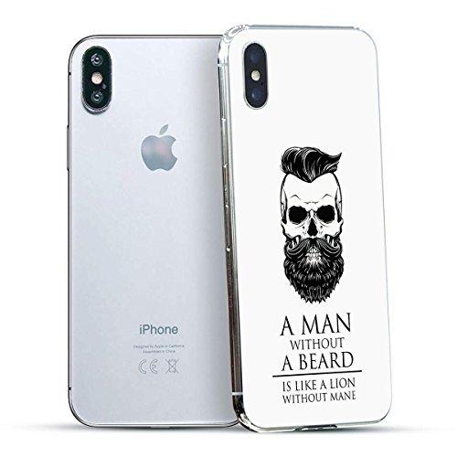 finoo | Iphone X Hard Case Handy-Hülle mit Motiv | dünne stoßfeste Schutz-Cover Tasche in Premium Qualität | Premium Case für Dein Smartphone| Elefant Line Art Man Beard