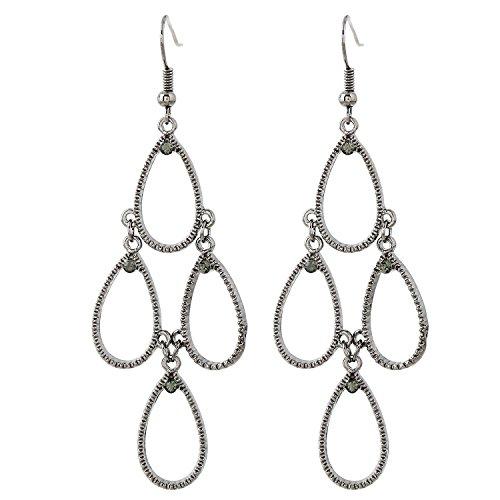 Black Baumeln Ohrringe Diamond (forever & moment schmuck metall tropfenförmige kronleuchter baumeln tiered - ohrringe für frauen (hämatit / black diamond))