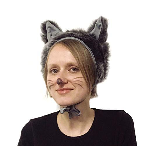 Wolf Kostüm Hut - SIA COLLA-S Faschingskostüm Wolf Mütze mit Ohren Kappe Hut Wolf Karneval Kostüme für Kinder älter als 9 Jahre, Herren Männer Frauen Festtage Größe L/XL Geschenk