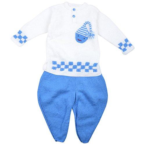 Kuchipoo Hand Knitted Woolen Baby Boy Kurta and Dhoti (KUC-DKU-301, Blue & White, 1 to 2 Years)