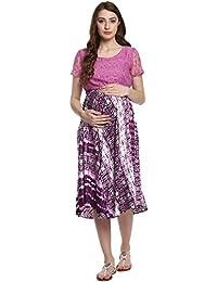 Mine4Nine Women's Wine Printed Lace Maternity Dress