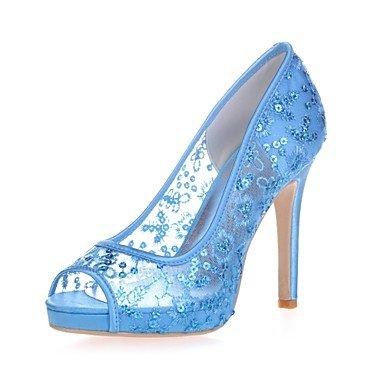 Wuyulunbi@ Scarpe donna Paillette Primavera Estate della pompa base scarpe matrimonio Stiletto Heel Peep toe per la festa di nozze & Sera Bianco Rosso luce rosa Blu chiaro