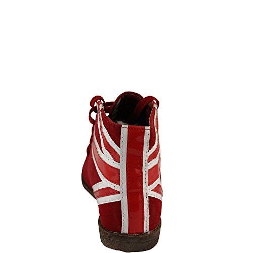 Stylischer Halbschuh mit Großbritannien Muster an Ferse Union Jack Schwarz, Rot Damenschuh V1052 Rot