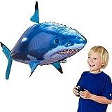 Cooljun RC Ferngesteuerter Fliegender Hai-Fisch - Ferngesteuerter Riesenfisch, mit Helium gefüllt schwebt er in der Luft RC Flying Shark Kinder Erwachsener (Blau)