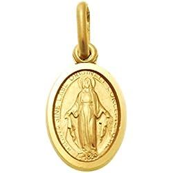 Pendentif médaille miraculeuse en or 9carats Cadeau de baptême/communion 12mm