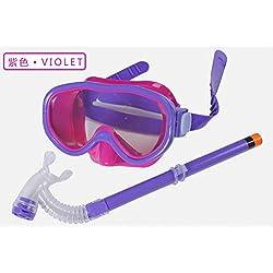 Hivel Kit De Lunettes De Protection Masque Tuba Snorkeling et Plongee pour Enfant Lunettes Natation Swimming Diving Dive Scuba Mask - Violet