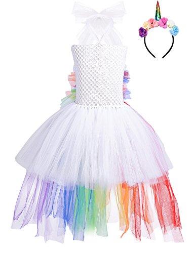 Tiaobug Mädchen Einhorn Kostüm Set Prinzessin Kleid + Blumen Haarband Haarreif für Kinder Weihnachten Verkleidung Karneval Party Halloween Festkleid Weiß 134-140/8-9 - Blumen Mädchen Kostüm Halloween