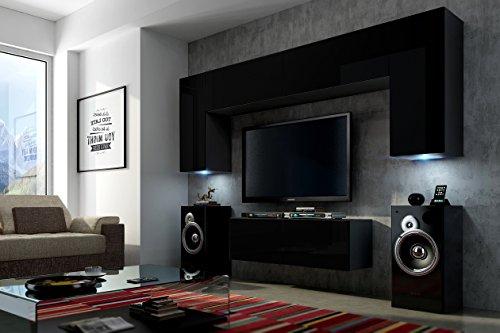 FUTURE 2 Zeitnah Wohnwand Wohnzimmer Möbelset, Anbauwand Schrankwand Möbel Set, Exklusive Unterhaltungseinheit Mit Regalen, Neue Suite, TV-Ständer / Schrank / Regal, Drücken Sie auf Öffnen / Standardgriff Wandschränke, Matte / Hochglanz, Schwarz / Weiß / Mehr Farben, Gratisversand (RGB LED Beleuchtung Vorhanden) (Schwarz MAT base / Schwarz MAT front, Möbel)
