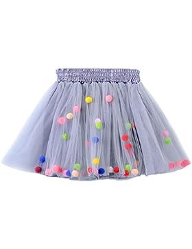 MIOIM Baby Kinder Mädchen Tüllrock Rock Ballettrock Tütü Tutu Unterkleid Petticoat Rockabilly Kurz Kleid mit Flusen...