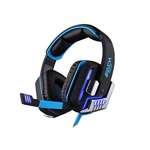 Kotion each g8200 vibrazione cuffie da pro gaming usb con suono surround 7.1, microfono, deep bass, controllo del volume per pc gamer (nero+blu)