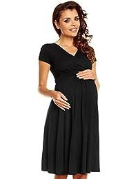 19263374a Zeta Ville - Women s Maternity Wrap V-Neck Summer Dress - Short Sleeves -  108c