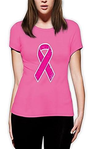 Breast Cancer Awareness - Distressed Pink Ribbon Women T-Shirt Large Pink
