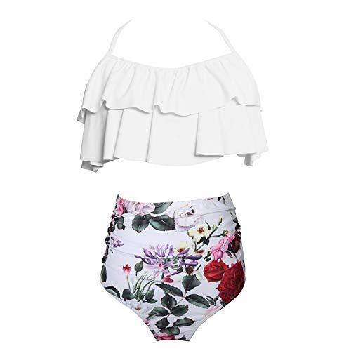 Ning Damen Padded Badebekleidung Ruffled Badeanzug 2 Stück Mit Blumen Bedruckt Bauchkontrolle Bikini-Set,White,L - Ruffled Zwei Stück