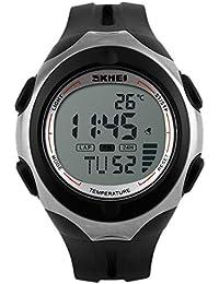 Panegy - Reloj Digital Deportivo con Doble Horarios y Múltiples Funciones Termómetro para Hombres-Color