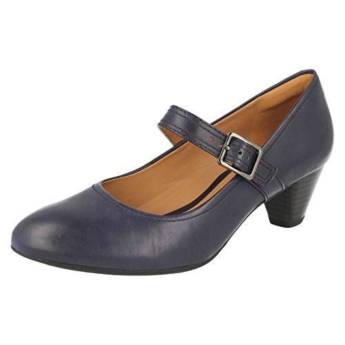 Clarks Denny data Womens scarpe in pelle nera o blu marino Navy 8 E