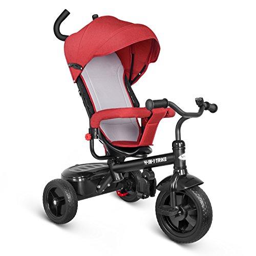 Besrey 4 in1 Bicicleta para bebé Bicicleta para niños triciclo para niños con techo solar y mango (Rojo)
