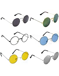 770312deb97 Dervin Gandhi Round Shape Retro UV Protection Sunglasses Shades For Men    Women (Combo of